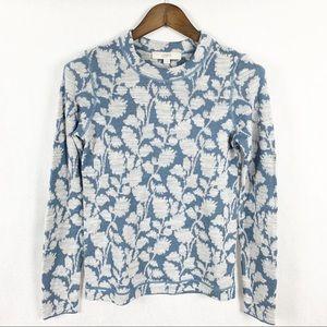 Loft Floral Long Sleeve Blue/White Sweater M